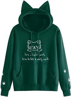 Womens Hoody Pullover Cat Long Sleeve Hoodie Sweatshirt Hooded Blouse