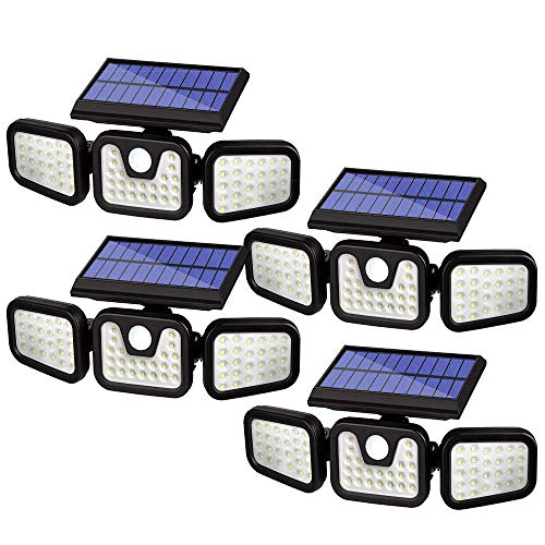 Molice Solar Security Outdoor,74 LED Super Bright 3 Adjustable Heads Solar Motion Sensor Lights IP65 Waterproof Wireless Solar Flood Light for Porch Yard Garage Pathway and More.(4 Pack)