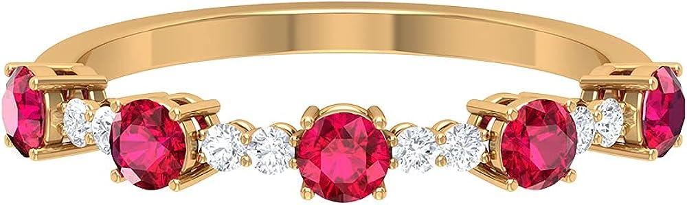 お歳暮 1 CT Ruby and Diamond Wedding Ring 期間限定 Gold Band