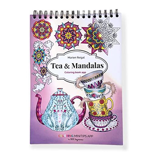 Libro Tea & Mandalas colorear adultos con app en español de Minitips para colorear, papel grueso y espiral, impresión a una cara y tamaño A4