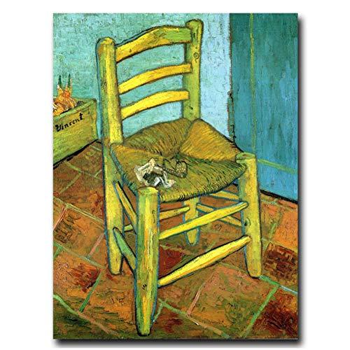 Sjkkad Vincent Van Gogh Silla clásica Art Poster Print Decoración para el hogar Pintura Impresión en lienzo Arte de la pared para sala de estar -20X28 pulgadas Sin marco
