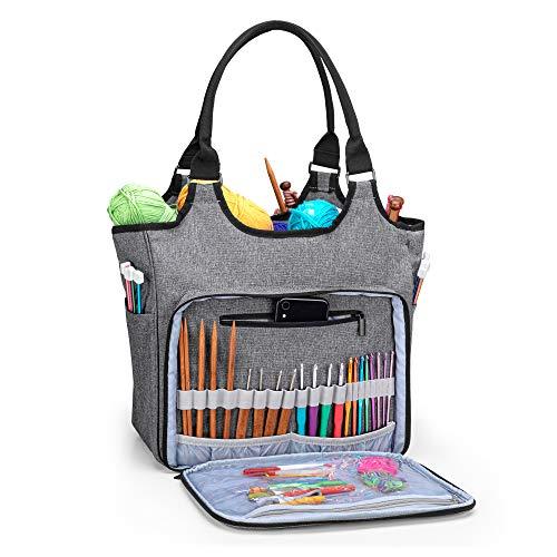 Yarwo Stricktasche zur Aufbewahrung von Wolle, Tasche für Wolle, Aufbewahrungstasche für Häkelnadeln Sets und Stricken Zubehör, Grau mit Pfeilmuster