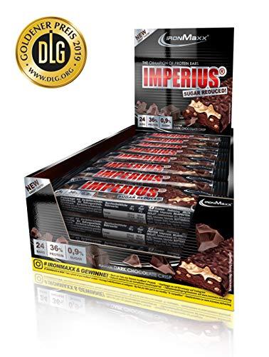 IronMaxx Imperius Sugar Reduced - Dark Chocolate Crisp – Low Carb Protein Riegel mit 36% Eiweiß & wertvollen Vitaminen & Mineralstoffen – Eiweißriegel gegen den Heißhunger, 24 x 45 g (1.08 kg) im Tray