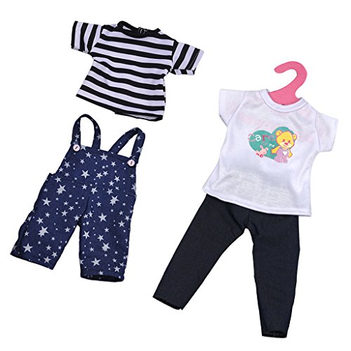 2 Piezas Camisetas + Pantalones con Tirantes de Hombro + Pantalones Vaqueros para 18 Pulgadas Muñecas