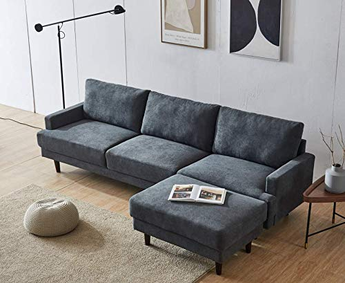 Dark Gray Fabric Sofa with Convertible Ottoman,JULYFOX L-Shaped 3-seat Corner Couch with Reversible Chaise Lounger Polyester Fabric for Living Room Office Club Small Spaces
