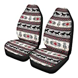 JoyLamoria Baja Style Bucket Seat Cover,2pc Front Driver Seat Protector Seat Cover, Southwest Dreamcatcher Horse Print Saddle Blanket Auto Accessiores Mats