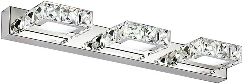 JHNEA für Spiegel Spiegellampe LED Kristall, 9W LED Spiegelleuchte Badleuchte Schminklicht Quadrat Wasserdicht Das Bad Rasur Beim MNner und Das Schminken Bei Frauen,Weiß Light_9w 46cm 18in