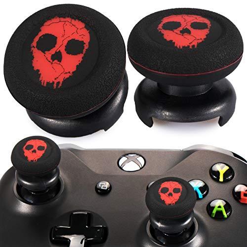 Playrealm FPS Thumbstick Grip Agarres para el Pulgar Extensor Y Impresión Caucho Silicona Apretón Cubrir 2 juegos para Controlador Xbox Series X/S y Xbox One (Rojo Fantasma)