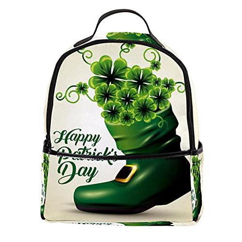 FURINKAZAN Tréboles verdes en el interior de la bota a San Patricio Evento de cuero de la PU Mini mochila bolso de viaje de moda