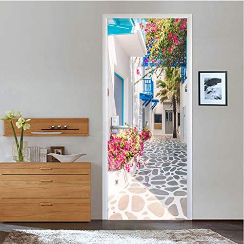 KNFLURNN Style 3D Ville Ville Paysage Porte Autocollant Salon Restaurant Papier Peint 3D PVC Autocollant Home Stickers Autocollant 3 D 200 * 77 Cm