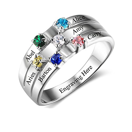 Lam Hub Fong Personalized Mothers Rings with 6 Simulated Birthstones Rings for Mom Mother Grandmother Gifts for Mother's Day (6)