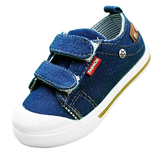 Canvas Shoes for Boys Toddler Sneakers Kids Toe Girl Slip On Tennis Athletic Running Baby Safety Sneaker House Denium Footwear Infant Hook&Loop Size Hiking H&L Dual Casual Low-Top NZBX01-DB-28