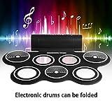 fghdfdhfdgjhh Fit W759 Portable Roll Up Electronic Drum Instrumento musical de sobremesa USB digital Hi-hat y Snare Drum Pads para niños adultos