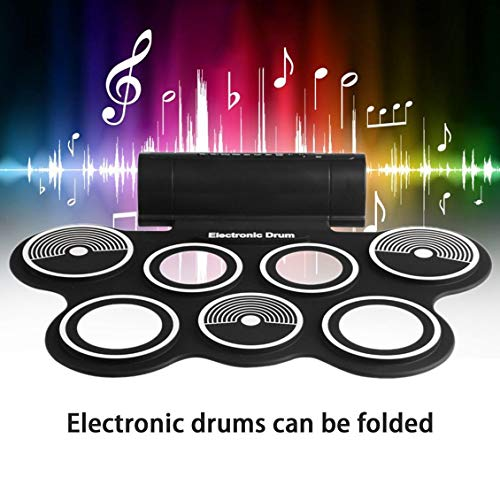 fghdfdhfdgjhh Fit W759 Portable Roll Up Electronic Drum Instrumento musical de sobremesa USB digital Hi-hat y Snare Drum Pads para niños adultos