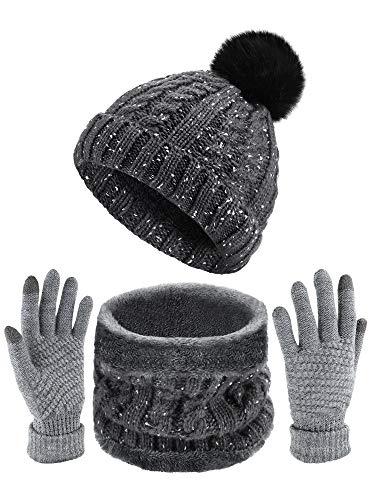 Facilidad casa Unisex Sombrero Bufandas Guantes de Invierno c/álido de Punto Beanie Sombrero Cuello Calentador y Pantalla t/áctil Guantes Negro Negro
