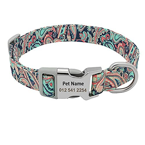 Collar de Perro de Nylon Personalizado Collar para Cachorros de Mascotas con Estampado de Flores Collar con Nombre Personalizado Pequeño Mediano Grande Perro Bulldog (Color : Style 3, Size : L)