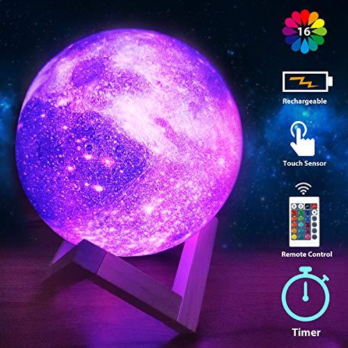 Mondlampe, Galaxy-Projektorlicht ┃Remote Steuerung mit 16 RGB-Farben, 4-Änderungsmodus, Dimmfunktion, Timer ┃ Lunar 3D-Lampe Dekor Geschenke für Liebhaber Männer Frauen Kind (Rot, 5,9 Zoll)