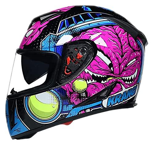 Casco Integral para Motocicleta, Casco para Motocross para Adultos, con Visera para El Sol, Casco para Motocicleta, Casco Integral para Motocicleta De Carreras para Hombres Y Mujeres Adultos