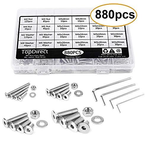TopDirect 880pcs M2 M3 M4 M5 Hex plano de botón tornillos y tuercas y arandelas Assortment Kit con Caja de storge + Tornillo Llave