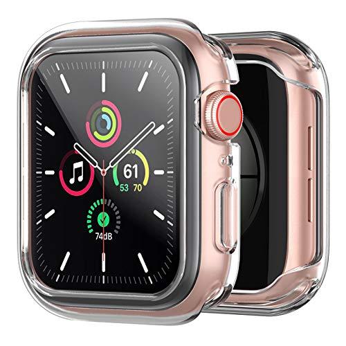 amBand Protector Apple Watch Serie 6/SE/5/4/3/2/1 44mm, Funda Apple Watch con Vidrio Templado,Protector Pantalla iwatch Serie 6/SE/5/4/3/2/1- Clear