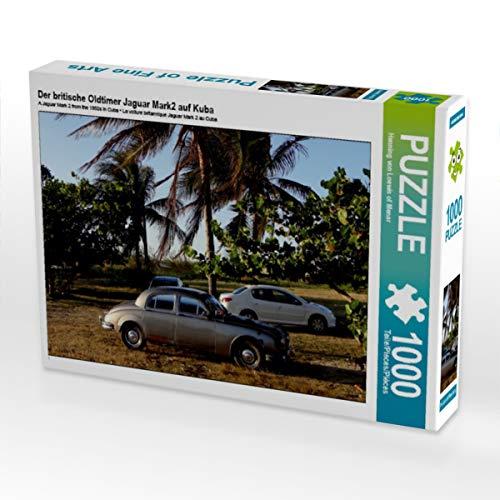 CALVENDO Puzzle Der britische Oldtimer Jaguar Mark2 auf Kuba 1000 Teile Lege-Größe 64 x 48 cm Foto-Puzzle Bild von Henning von Loewis of Menar