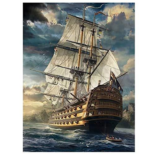Vaorwne 5D DIY Diamante Pintura Punto de Cruz Barco en el Mar Bordado de Diamantes Cuadrado Completo Mosaico de Diamantes Redondos