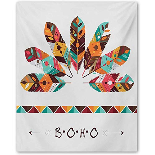 ScottDecor Boho Fashion Style Canvas Painting Art Print No Frame Pastel Colored Artistic Feathers Native Primitive Tribal Cultures Abstract Ornament Multicolor L36 x H24 Inch