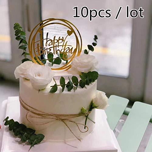 Soode Ronde vorm spiegel goud gelukkig verjaardagstaart topper goud ze verjaardagsfeest decoratie taart versieren baby douche