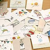 Zhi Jin Lot de 30mini cartes de vœux enveloppes Dessin animé Blank Message carte d'anniversaire de mariage Assortiment de toutes les occasions Ensemble cadeau