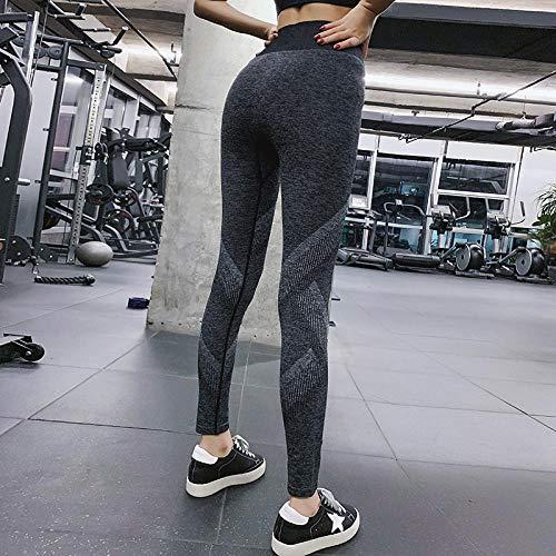 dihui Patchwork Moda Pantalones de Yoga,Solid Push Up Ropa Deportiva Mujer Fitness Running Energy Gym Leggings-Grey_S / M