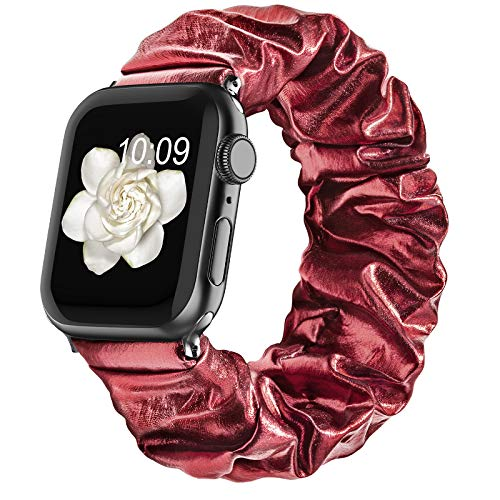 Compatible with Scrunchie Apple Watch Bands 38mm 40mm 42mm 44mm for Women Girl, Canvas Scrunchy Elastic Stretch Glitter Cloth Bracelet Strap for iWatch Series 6 5 4 3 2 1 Se, Red 42/44mm Small