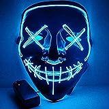 Ikakabek LED Purge Maske Halloween Gruselmaske mit 3 Blitzmodi, Coole Blinkende Maske Leuchten Gruselige Dekoration für Halloween Fasching Karneval Cosplay Party Kostüm Cosplay (Blau)