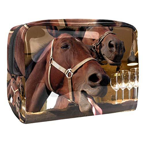 Grande trousse de maquillage pour femme - Motif cheval - Idéale pour les voyages