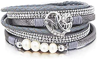 FANCY SHINY Mother Daughter Bracelet Boho Wrap Bracelet Heart Gift Jewelry for Mom with Magnetic Clasp(Gray)