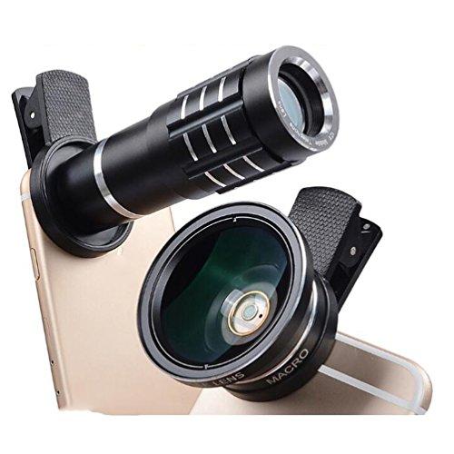 Ankuy Universal 4 in 1 Cell Phone Lens Set 12x Telescope+0.45x Wide Angle+180x Fisheye Lens+12.5x Micro Lens Smart Phone Lens Kits(Black)
