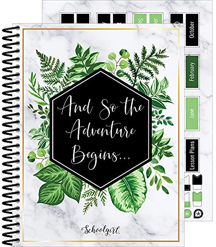 Schoolgirl Style Simply Boho Greenery Teacher Planner—Undated Weekly/Monthly Lesson Plan Book and Record Organizer for Classroom or Homeschool (8 inches x 10 inches)