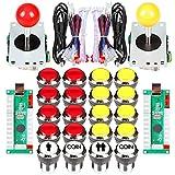 Fosiya 2 Jugador Arcade Joystick LED Chrome Botones de Arranque para PC MAME Frambuesa Pi Video Juegos Arcade Gabinete de Piezas (Rojo Amarillo)
