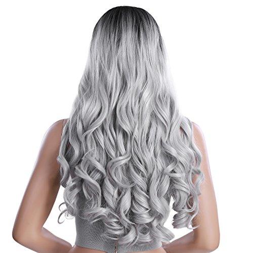 SONGMICS Perruque noir gris gradient de 66 cm Avec raie au milieu Longue Bouclée Cheveaux synthétique Perruque femme WWG02BG