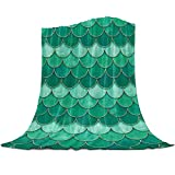 Flannel Fleece Throw Blanket 60x80 inches Mermaid Scale Fish Scaled Reversible Soft Cozy Bed Blanket Ombre Watercolor Green Microfiber Fluffy Lightweight Throw Blanket for Bed Couch Sofa Chair