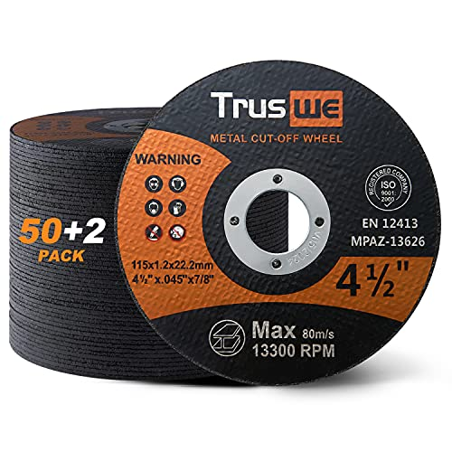 TRUSWE 휠 52 팩 4 1 | 2 인치 0.52 USD | 팩 금속 및 스테인레스 스틸 커팅 휠 앵글 그라인더 초박형 컷오프 휠 절단 디스크