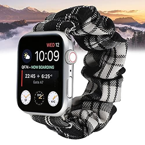 YONGCHY Compatible con Apple Watch Correa Scrunchie de 44 mm / 42 mm, Pulsera de Tela Estampada con patrón de Colores Suaves Compatible con iwatch Series 6/5/4/3/2/1 Mujeres Niñas,42/44mm