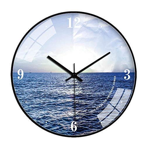 ZZLHHD Reloj de Pared Diseño matemáticoSala de Estar mar Reloj de Cuarzo de moda-011aPared Estilo Moderno Reloj Ronda