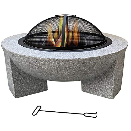 ZHANGLE Fire Bowl with Net Cover and Hook Garden Fireplace, Man Made Rock Outdoor Fire Pit for Use as A BBQ Pit 75Cm Ø