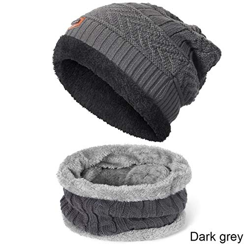 YNLRY Heat Holders Men Women Winter Warm Hat Scarf Knitted Soft Plus Velvet Thick Hat Scarf Set Skullies Beanies Hats for Women Unisex Caps for Running/Fishing/Cycling (Color : Dark grey)