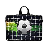 Meffort Inc Neoprene Laptop Carrying Case Sleeve Bag w. Hidden Handle & Eyelet (D-Ring) for 15 15.6 Inch Notebook - Soccer
