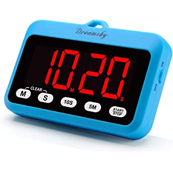 DreamSky Digital Kitchen Timer with Large Red Digit Display, Count Up/Down Timer with ON/OFF Power Button, Magnetic Back Foldout Stand, Battery Operated Timer for Cooking Baking Easy Operation.