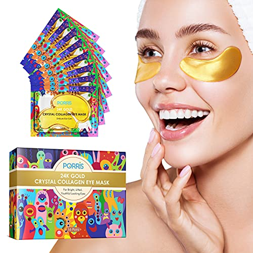24K Gold Augenmaske unter Augenpflastern, feuchtigkeitsspendende Maske für geschwollene Augen, dunkle Kreise, unter Augenfalten, feuchtigkeitsspendend, entfernen...