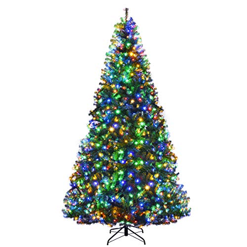 Goplus 9FT Pre-Lit Artificial Christmas Tree Auto-Spread/Close up Branches 11 Flash Modes with Multicolored LED Lights & Metal Stand