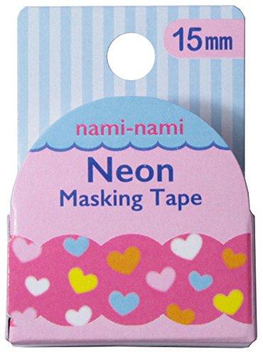 パインブック ナミナミ ネオン マスキングテープ TM00525 ふわふわハート 15mm × 5m 37mmφ 日本製