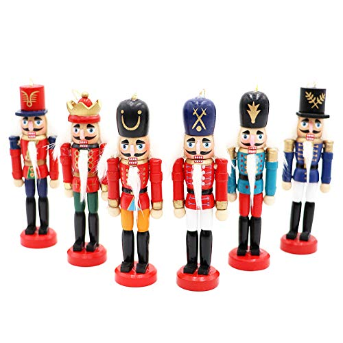 OurWarm 6Pcs Christmas Nutcrackers Ornaments, Nutcrackers Figures Christmas Tree Ornaments for Birthday Gift Home Party Xmas Decorations